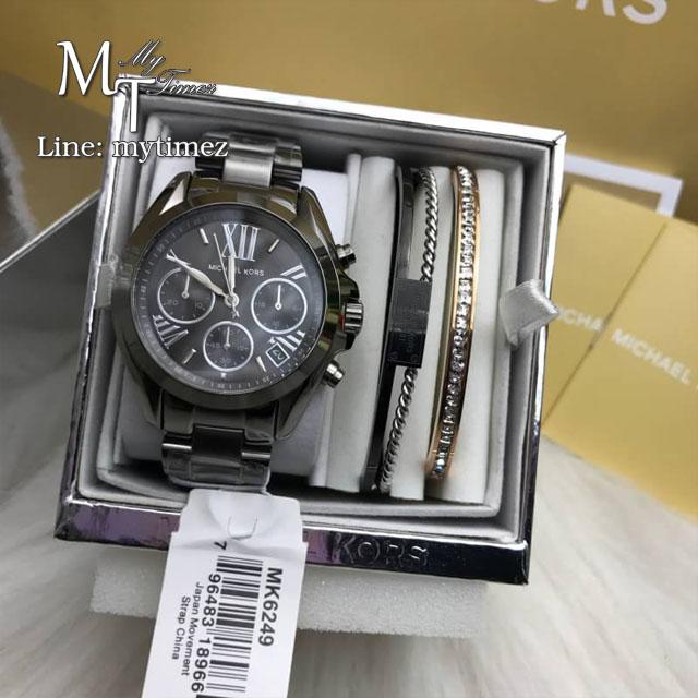 MICHAEL KORS Bradshaw Grey Dial Chronograph Gunmetal Tone Ladies Watch MK6249 + Bracelet Set