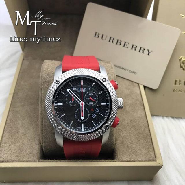Burberry Sport Chronograph Black Dial Red Rubber Men's Watch BU7706