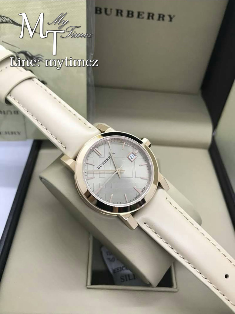 BURBERRY The City Rose Gold Leather Srap BU9109