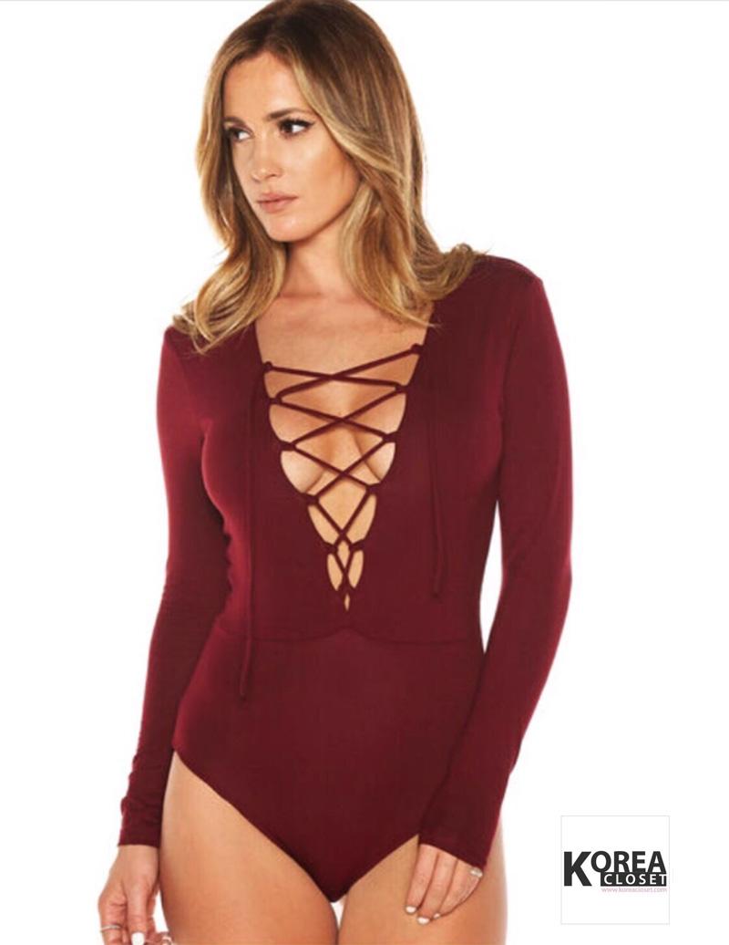 Bitchy Tie Front Bodysuit สีแดง