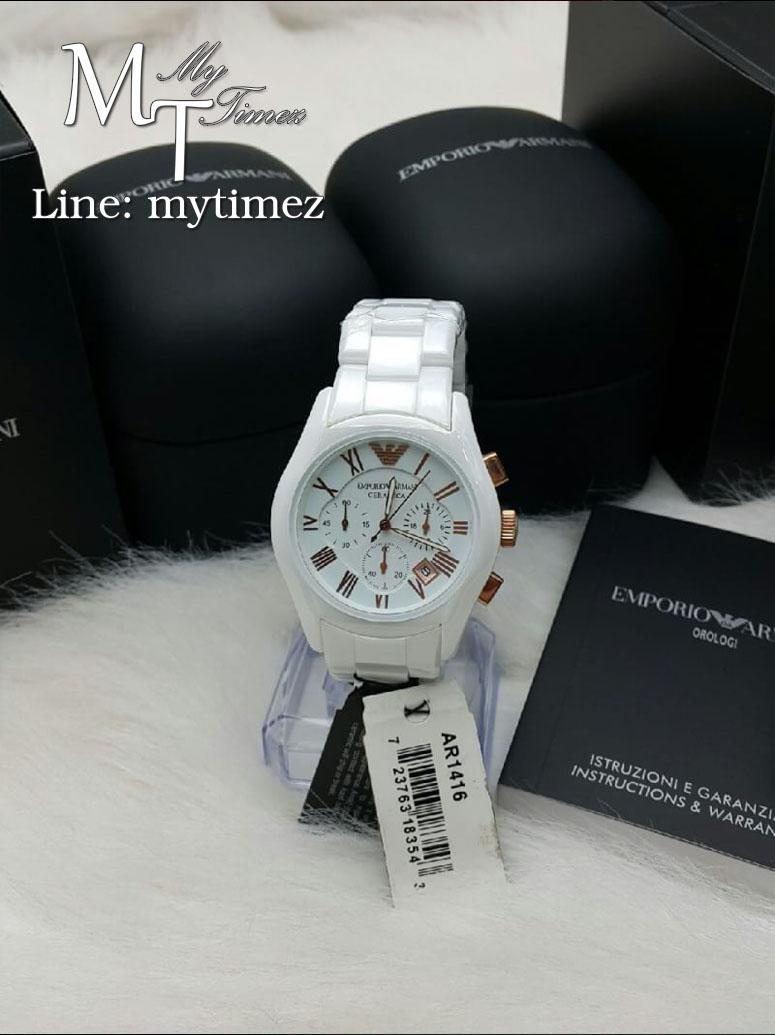 EMPORIO ARMANI Emporio Ceramica Chronograph White Dial White Ceramic Ladies Watch