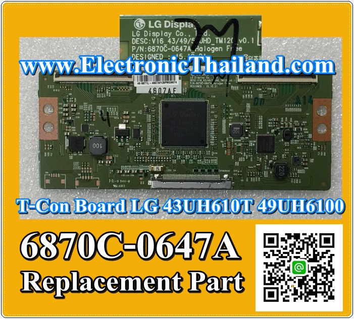 T-Con Board LG 43UH610T 49UH6100 6870C-0647A Replacement Part