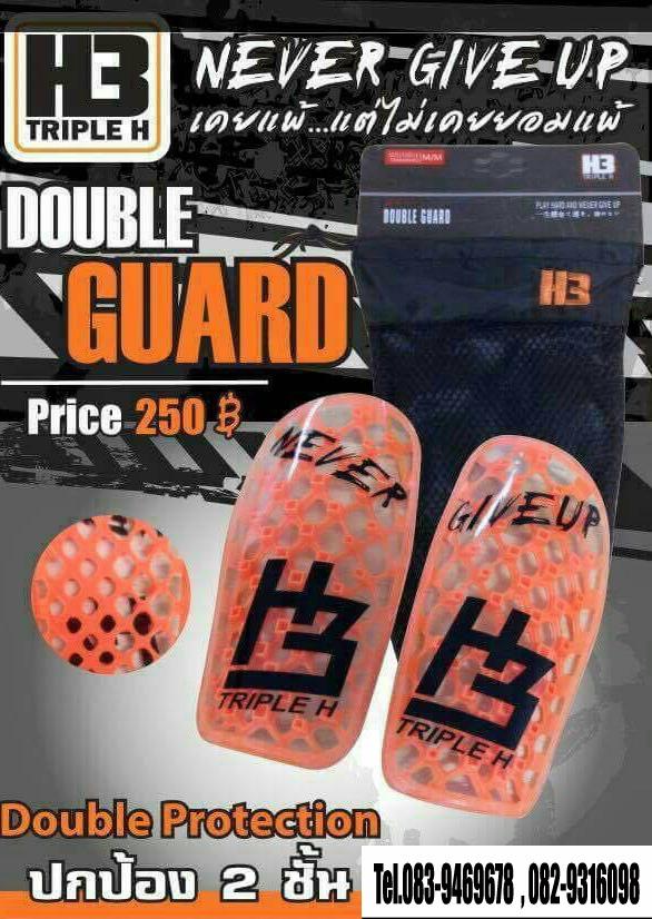 สนับแข้ง H3 รุ่น Double ป้องกัน 2 ชั้น (สีส้ม) ไซส์ M/M