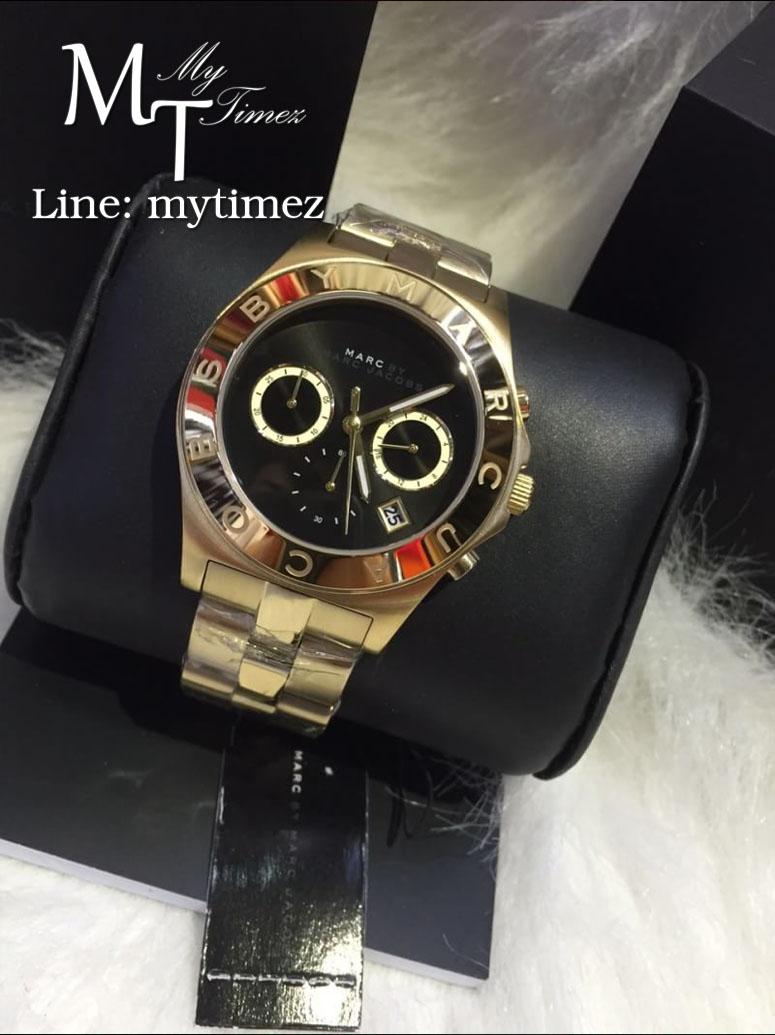 นาฬิกาข้อมือ Marc By Marc Jacobs รุ่น Blade Black Dial Gold Tone Ladies Watch MBM3309