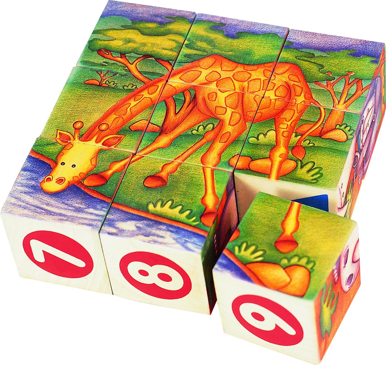 ของเล่นเด็ก จิ๊กซอว์ไม้ ตัวต่อไม้ ประเภทลูกเต๋าสัตว์ป่าในซาฟารี
