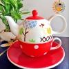 ชุดกาน้ำชา Tea For One - ไก่หรรษา แดง