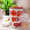 Mug ลายดอกไม้ (แดง - ขาว) พร้อมที่กรองชา