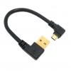 สาย Micro USB และ USB 90 องศา ยาว 15 ซ.ม. สำหรับ Raspberry Pi และโทรศัพท์สมาร์ทโฟนอื่นๆ High quality gold plated plug 15cm short 90 degree Left angle USB A male to Micro USB Male Right angle data power cable