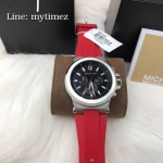 นาฬิกาข้อมือ MICHAEL KORS รุ่น Dylan Chronograph Black Dial Stainless Red Band MK8169