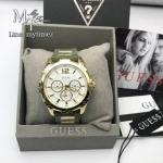 Guess Women's U0325L5 Green Rubber Quartz Watch with Gold Dial