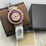 MICHAEL KORS Catlin Crystal-set Burgandy Dial Rose Gold-plated Ladies Watch MK3412