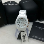 นาฬิกาข้อมือ EMPORIO ARMANI Emporio Ceramica Chronograph White Dial White Ceramic Ladies Watch