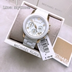 นาฬิกาข้อมือ MICHAEL KORS รุ่น Runway Silver Dial White Polyurethane Ladies Watch MK5145