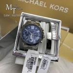 Michael Kors Bradshaw Blue Silver Chronograph MK5883 + Bracelet Set