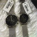 นาฬิกาข้อมือ Emporio Armani Men's Chronograph Black Dial Stainless Steel Mesh Watch AR1808