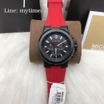 MICHAEL KORS Dylan Chronograph Black Dial Red Silicone Men's Watch MK8382