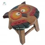 เก้าอี้สตูล รูปแกะสลักนกฮูก เก้าอี้ไม้ สำหรับห้องนั่งเล่นเด็กๆ