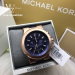 นาฬิกาข้อมือ MICHAEL KORS รุ่น Dylan Navy Dial Rose Gold-tone Navy Silicone Strap Men's Watch MK8295