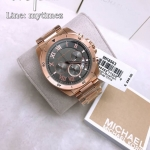 นาฬิกาข้อมือ MICHAEL KORS รุ่น Brecken Grey Dial Men's Rose Gold Chronograph Watch MK8563