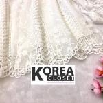 เสื้อแฟชั่น Balloon-Sleeve Embroidered top สีขาว