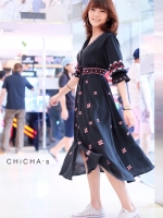 เดรส Boho Embroidery Maxi Dress