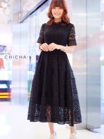 แม็กซี่เดรส Dollita Lace Maxi Dress สีดำ