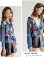 แจ็คเก็ตยีนส์ Butterfly Mosaic Embroidery Denim Jacket
