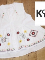 เสื้อแฟชั่น Floral Embroidery Sleeveless Blouse - สีขาว