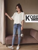 กางเกงยีนส์ Embellished Skinny Jeans