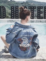 แจ็คเก็ตยีนส์ Sly Flyfirst Embroidery Vintage Denim Jacket