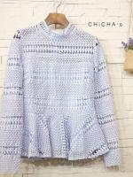 เสื้อลูกไม้แฟชั่น Lady Fabulous Lace Blouse by MyStyle สีฟ้า