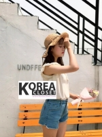 เสื้อ Lace RuffleSleeve Single Pocket T-Shirt