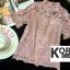 เสื้อแฟชั่น Shot-Sleeve Embroidered Lace Blouse สีชมพู thumbnail 1