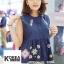 เสื้อแฟชั่น Floral Embroidery Sleeveless Blouse - สีขาว thumbnail 4