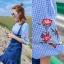 เดรสเสื้อลายสก็อต Scott Balloonsleeve Ruffle Dress สีแดง thumbnail 6