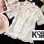 เสื้อแฟชั่น Shot-Sleeve Embroidered Lace Blouse สีชมพู thumbnail 7