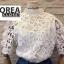 เสื้อแฟชั่น Shot-Sleeve Embroidered Lace Blouse สีชมพู thumbnail 4