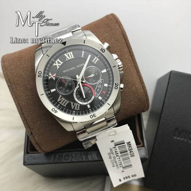 dcfcf004b5f4 นาฬิกาข้อมือ MICHAEL KORS รุ่น Brecken Chronograph Black Dial Stainless  Steel Men s Watch MK8438